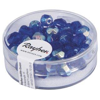 Glas-Schliffperlen, 6 mm ø, irisierend, saphir, Dose 50 Stück