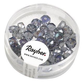 Glas Schliffperle Radl, blaugrau, 6x3mm, irisierend, Dose 40Stück