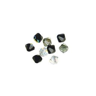 Swarovski Kristall-Schliffperlen, Schwarz-Weiß-Töne, 4 mm ø, Dose 50 Stück
