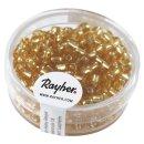 Rocailles, 4 mm ø, mit Silbereinzug, gold, Dose 17 g
