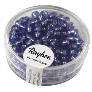 Rocailles, 4 mm ø, mit Silbereinzug, h.blau, Dose 17 g
