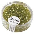 Rocailles, 4 mm ø, mit Silbereinzug, h.grün, Dose 17 g