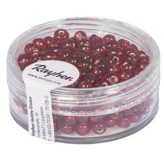 Rocailles, 4 mm ø, mit Silbereinzug, rot, Dose 17 g
