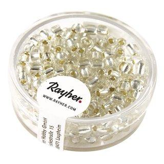 Rocailles, 4 mm ø, mit Silbereinzug, silber, Dose 17 g
