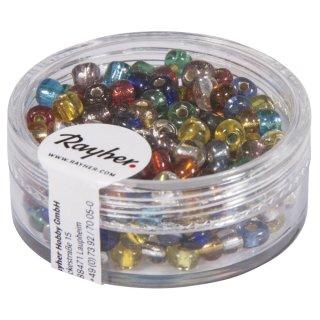 Rocailles, 4 mm ø, mit Silbereinzug, gemischt, nicht waschbar, Dose 17 g
