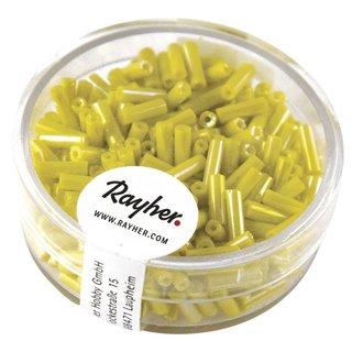 Glasstifte, 7x2 mm,  opak-gelüstert, gelb, Dose 14 g
