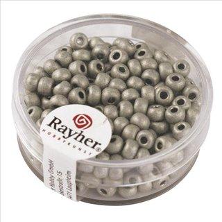 Metallic-Rocailles, matt, brill.silber, 4 mm, Dose 17g