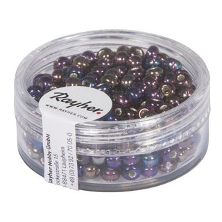 Rocailles m.Silbereinzug+Rainbow, ø 4 mm, purple velvet, Dose 17g