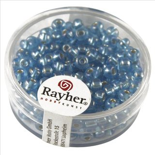 Rocailles m.Silbereinzug+Rainbow, ø 4 mm, azurblau, Dose 17g