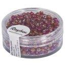 Rocailles m.Silbereinzug+Rainbow, ø2,6mm, pompadur-rot, Dose 17 g