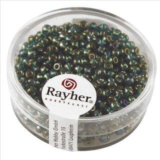Rocailles m.Silbereinzug+Rainbow, ø2,6mm, smaragd, Dose 17 g
