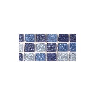 Acryl-Mosaik, Glitter, selbstklebend, lagune, ø 5 mm, rund, 3 Farben, Beutel, 144 Stück