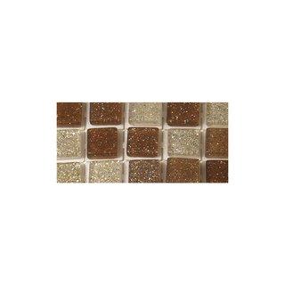 Acryl-Mosaik, Glitter, selbstklebend, kastanie, ø 5 mm, quadratisch, 3 Farben, Beutel, 144 Stück