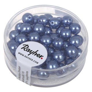 Renaissance Glaswachsperlen, 6 mm ø, azurblau, Dose 45 Stück