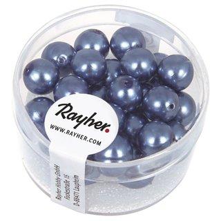 Renaissance Glaswachsperlen, 8 mm ø, azurblau, Dose 25 Stück