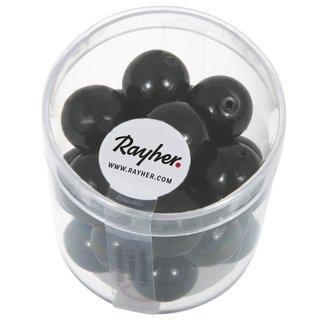 Renaissance Glaswachsperlen, 12 mm ø, schwarz, Dose 21 Stück