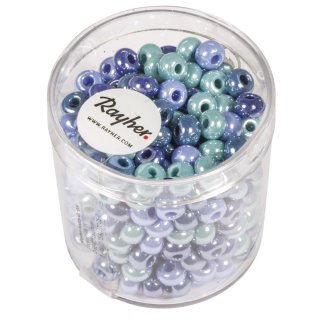 Glas-Großlochradl,opak, blau,türkis Töne, ø 5,4 mm, Dose 55g