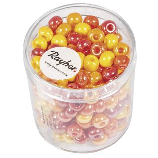 Glas-Großlochradl,opak, rot, gelb Töne, ø 6 mm, Dose 55g