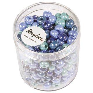Glas-Großlochradl,opak,blau,türkis Töne, ø 6 mm, Dose 55g