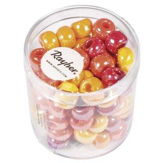 Glas-Großlochradl,opak,rot, gelb Töne, ø 8,7 mm, Dose 55g