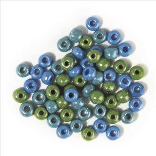 Glas-Großlochradl,opak,grün, blau Töne, ø 8,7 mm, Dose 55g