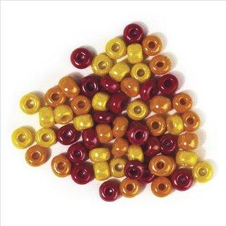 Glas-Großlochradl,opak,rot, gelb Töne, ø 6,7 mm, Dose 55g