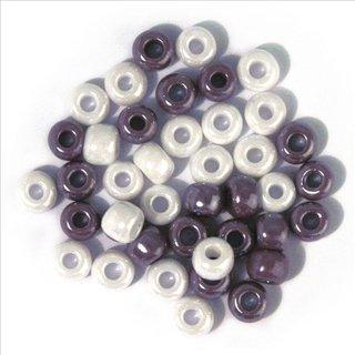 Glas-Großlochradl,opak,grau,lila,weiß T., ø 6,7 mm, Dose 55g