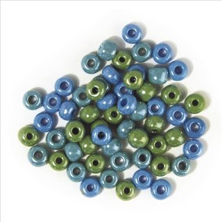 Glas-Großlochradl,opak,grün, blau  Töne, ø 6,7 mm, Dose 55g