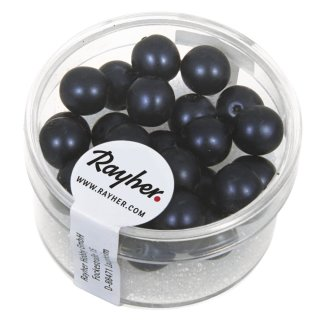Renaissance Glaswachsperlen, matt, nachtblau, 8 mm, Dose 25 Stück
