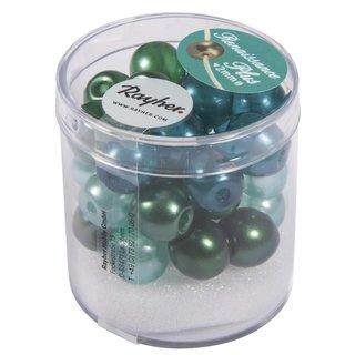 Renaissance Glaswachsperlen, halbtransp., grün Mix, 10 mm, m.Großloch, Dose 32 Stück