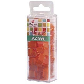 Acryl-Mosaik, 1x1 cm, transparent, orange, Box ca. 205 Stück / 50g