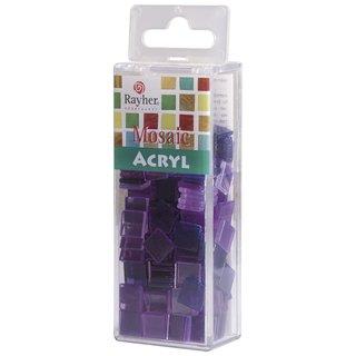 Acryl-Mosaik, 1x1 cm, transparent, violett, Box ca. 205 Stück / 50g