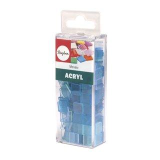 Acryl-Mosaik, 1x1 cm, transparent, lagune, Box ca. 205 Stück / 50g