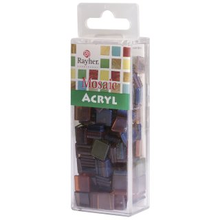 Acryl-Mosaik, 1x1 cm, transparent, sienna gebrannt, Box ca. 205 Stück / 50g