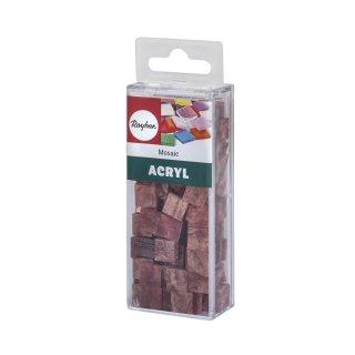 Acryl-Mosaik, 1x1 cm, marmoriert, rosa chiffon, Box ca. 205 Stück / 50g