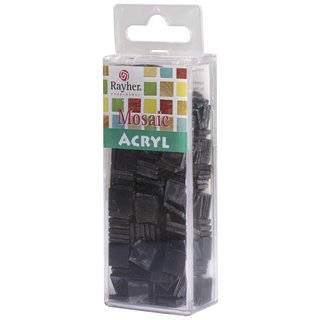 Acryl-Mosaik, 1x1 cm, marmoriert, schwarz, Box ca. 205 Stück / 50g