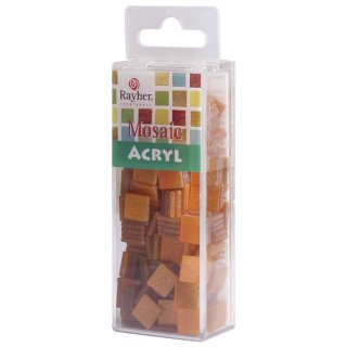 Acryl-Mosaik, 1x1 cm, Glitter, orange, Box ca. 205 Stück / 50g