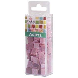 Acryl-Mosaik, 1x1 cm, Glitter, rosé, Box ca. 205 Stück / 50g