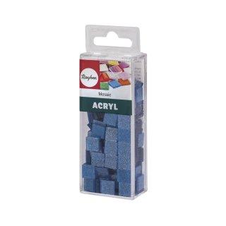 Acryl-Mosaik, 1x1 cm, Glitter, lagune, Box ca. 205 Stück / 50g