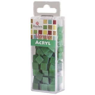 Acryl-Mosaik, 1x1 cm, Glitter, wiesengrün, Box ca. 205 Stück / 50g