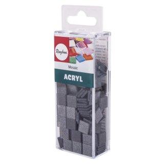 Acryl-Mosaik, 1x1 cm, Glitter, schiefergrau, Box ca. 205 Stück / 50g