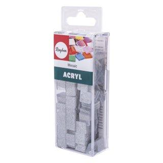 Acryl-Mosaik, 1x1 cm, Glitter, silver shadow, Box ca. 205 Stück / 50g