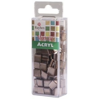 Acryl-Mosaik 1x1 cm metallic, sienna natur, Box ca. 205 St./ 50 g