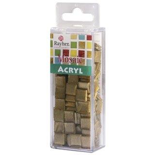 Acryl-Mosaik 1x1 cm metallic, brill.gold, Box ca. 205 St./ 50 g