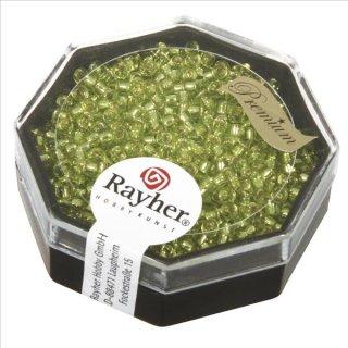 Premium-Rocailles, 2,2 mm ø, zitrone, Dose 12g, mit Silbereinzug