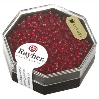 Premium-Rocailles, 2,2 mm ø, feuerrot, Dose 8g, mit Silbereinzug
