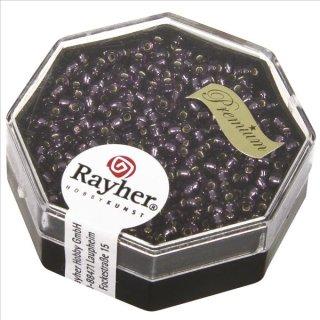 Premium-Rocailles, 2,2 mm ø, violett, Dose 12g, mit Silbereinzug