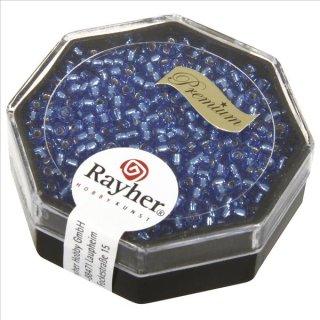 Premium-Rocailles, 2,2 mm ø, azurblau, Dose 12g, mit Silbereinzug