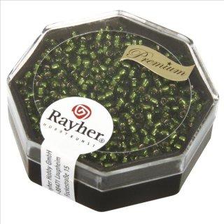 Premium-Rocailles, 2,2 mm ø, olive, Dose 12g, mit Silbereinzug