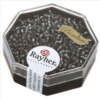Premium-Rocailles, 2,2 mm ø, silbergrau, Dose 12g, mit Silbereinzug